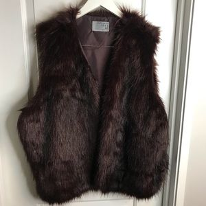 Maroon and Black Dyed Faux Fur Vest